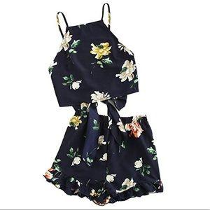 2 Piece Boho Floral Print Crop Top with Shorts Set